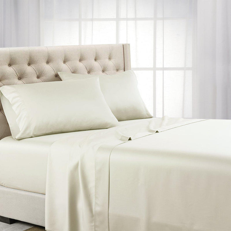 Luxurious Cooling Sheet Set - Eucalyptus 600 Tencel Lyocell-Abripedic-Twin XL-Ivory-Egyptian Linens