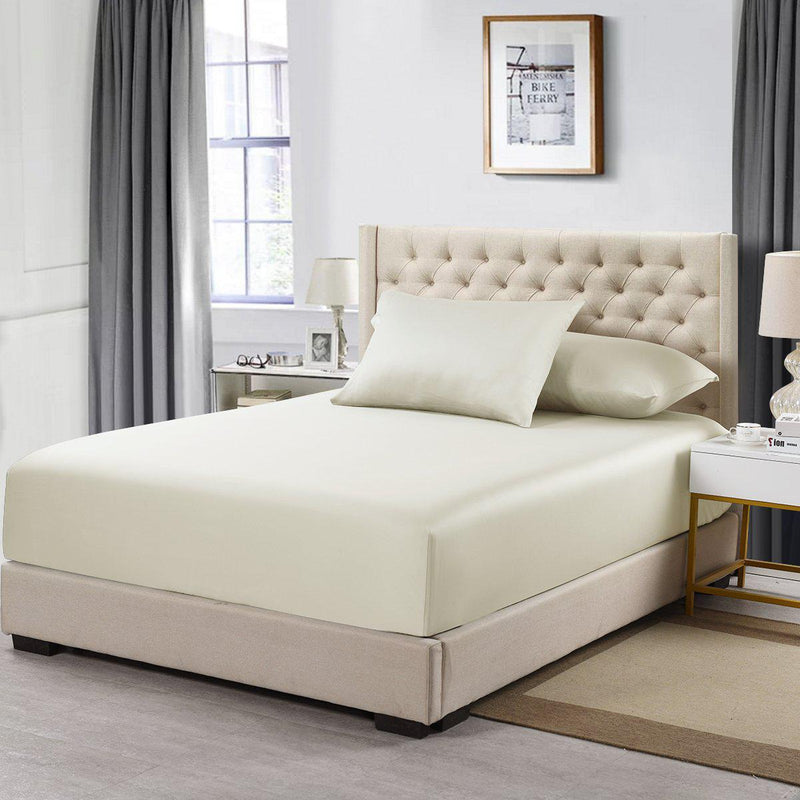 Flex King Fitted Sheet Only - Eucalyptus 600 Thread Count-Abripedic-Ivory-Egyptian Linens