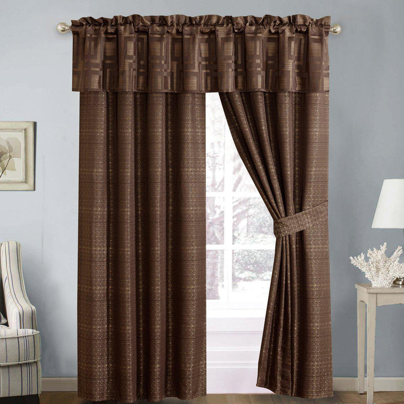 "Janet 5 Piece Lined Jacquard Curtain Panel Set 84""Wx84""L-Royal Hotel Bedding-Egyptian Linens"