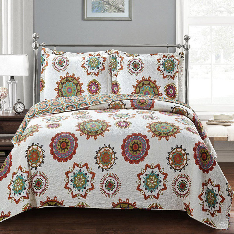 Julia Fashion Floral Design Quilt Set Oversized Lightweight Mini Sets-Royal Tradition-Warm-Twin Size-Egyptian Linens