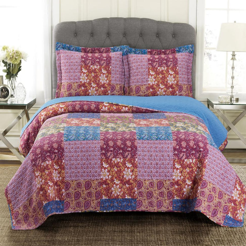 Kenzy Oversized Ouilt Set Reversible Retro Chic Style-Royal Tradition-Twin/Twin XL-Egyptian Linens