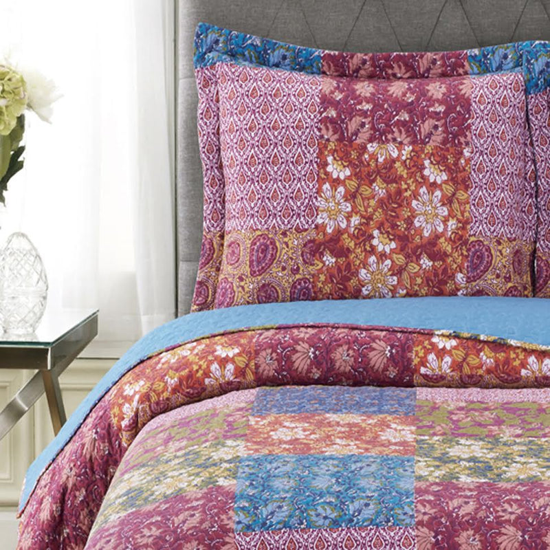 Kenzy Oversized Ouilt Set Reversible Retro Chic Style-Royal Tradition-Egyptian Linens