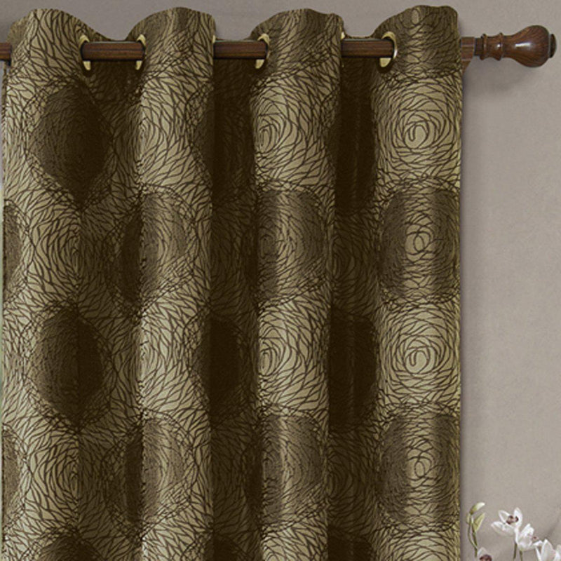 Lexington Circle Swirl Jacquard Curtains Top Grommet Panels (Set of 2)-Royal Tradition-Egyptian Linens