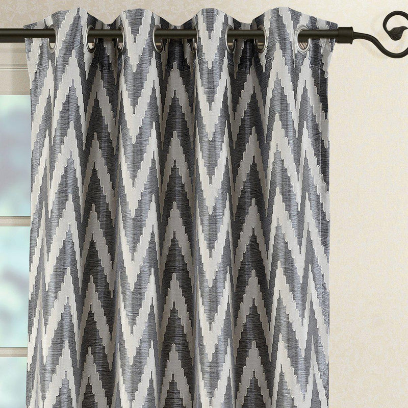 Pair (Set of 2) Lisette Chevron Top Grommet Window Curtain Panels, 108 Inches Total Width-Royal Tradition-Egyptian Linens