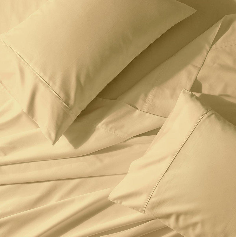 Split Cal-King Sheet Set - Percale Crispy Soft Sheet Set-Abripedic-Gold-Egyptian Linens