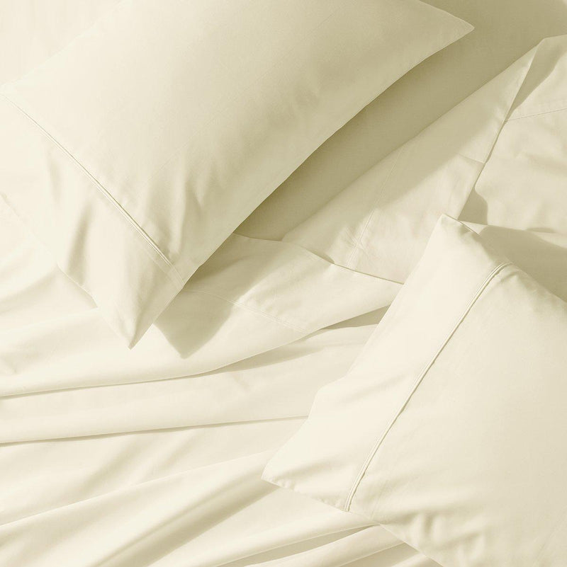 Split King Adjustable Bed Sheet Set - Crisp Percale-Abripedic-Ivory-Egyptian Linens