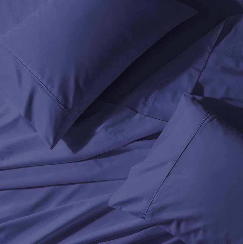 Split King Adjustable Bed Sheet Set - Crisp Percale-Abripedic-Periwinkle-Egyptian Linens