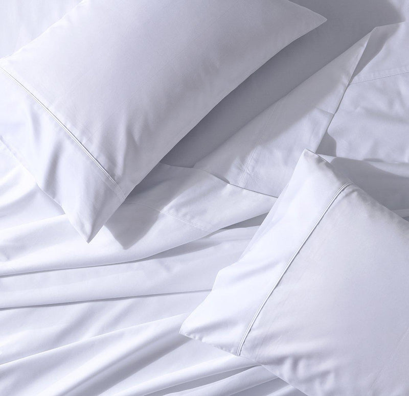 Split Cal-King Sheet Set - Percale Crispy Soft Sheet Set-Abripedic-White-Egyptian Linens
