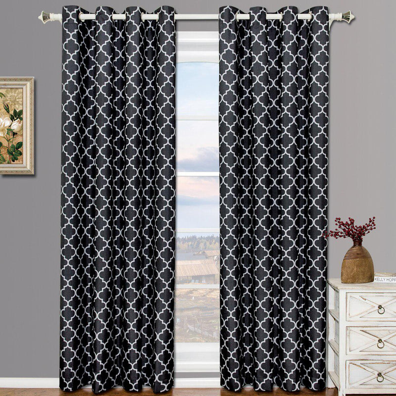 "Black & Gray Meridian Thermal Grommet Room-Darkening Curtains (Set of 2 Panels)-Royal Tradition-63""-Egyptian Linens"