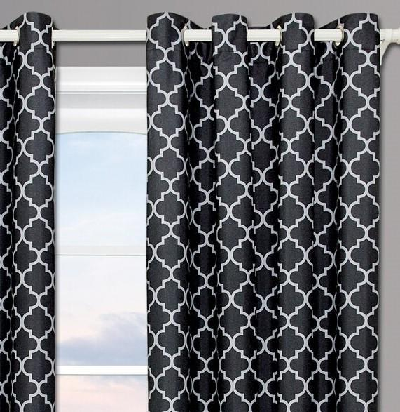 Black & Gray Meridian Thermal Grommet Room-Darkening Curtains (Set of 2 Panels)-Royal Tradition-Egyptian Linens