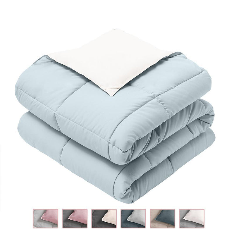 Reversible Plush Down Alternative Blanket-Royal Hotel Bedding-Twin/Twin XL-Blue/White-Egyptian Linens