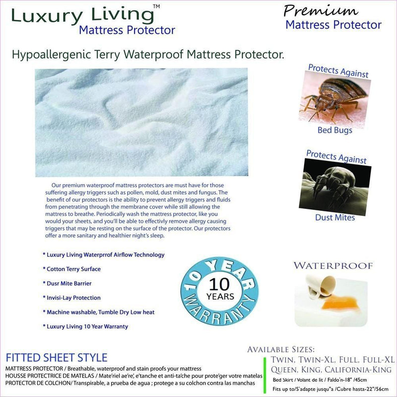 Luxury Living Terry Waterproof Hypoallergenic Mattress Protector-Royal Tradition-Egyptian Linens