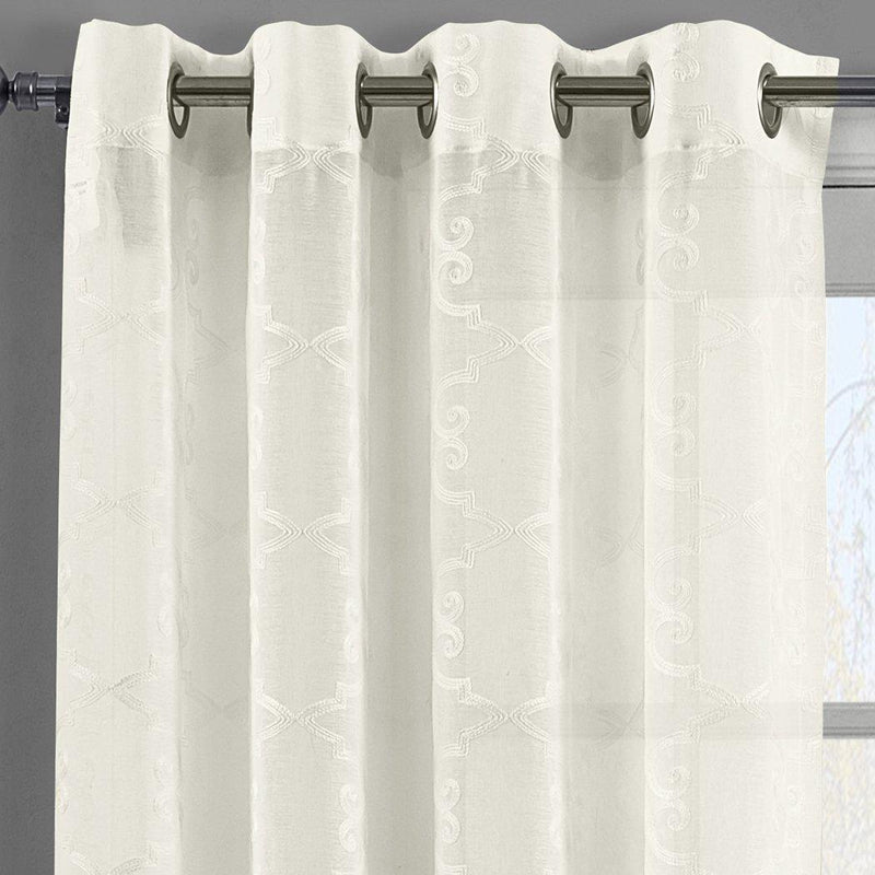 "Embroidered Melanie Grommet Top Sheer Curtain Pair (Set of 2 )-Royal Tradition-54 x 63"" Panel-Beige-Egyptian Linens"