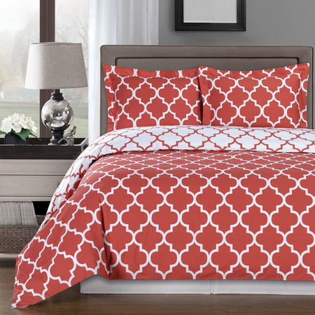 Duvet Cover Set - Meridian-Royal Tradition-Twin/Twin XL-Coral/White-Egyptian Linens