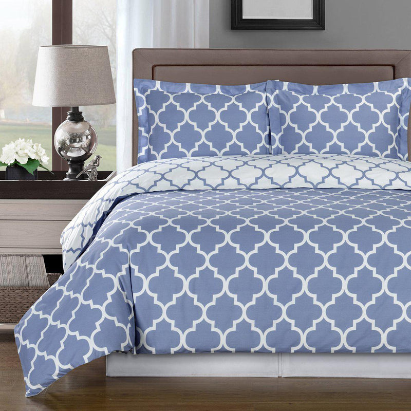 Duvet Cover Set - Meridian-Royal Tradition-Twin/Twin XL-Periwinkle/White-Egyptian Linens