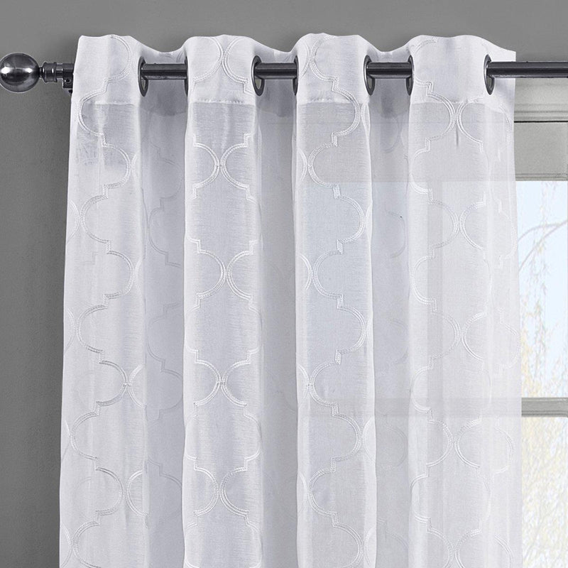 Miller Sheer Grommet Top Embroidered Panel Pair (Set of 2 )-Royal Tradition-Egyptian Linens