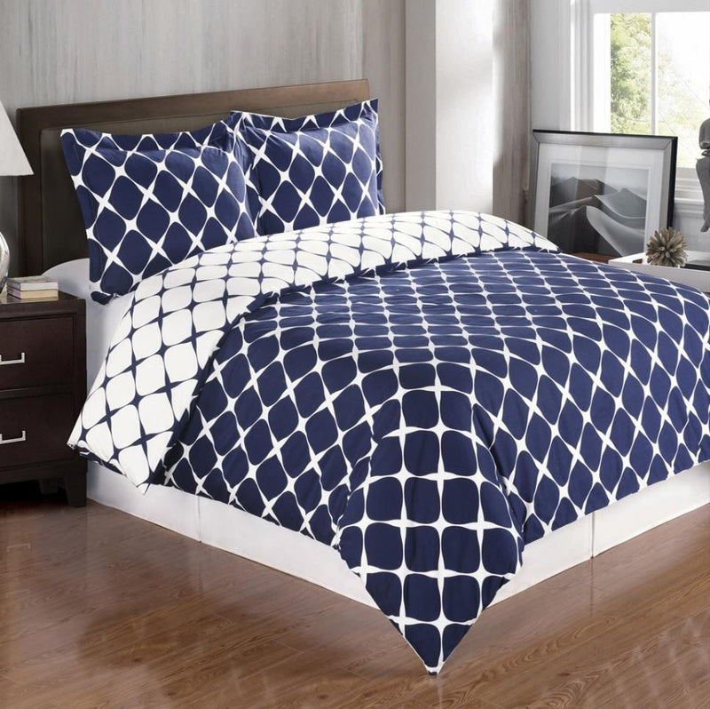 Duvet Cover Set - Bloomingdale-Royal Tradition-Twin/TwinXL-Navy/White-Egyptian Linens