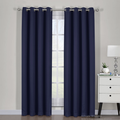 "Ava Blackout Weave Curtain Panels With Tie Backs Pair (Set Of 2)-Egyptian Linens-54"" x 63"" Pair-Navy-Egyptian Linens"