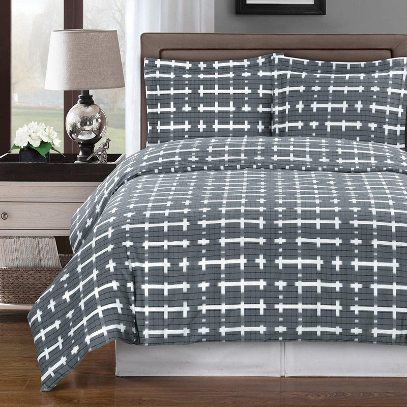 Duvet Cover Set - Norwich-Royal Tradition-Full/Queen-Gray/White-Egyptian Linens