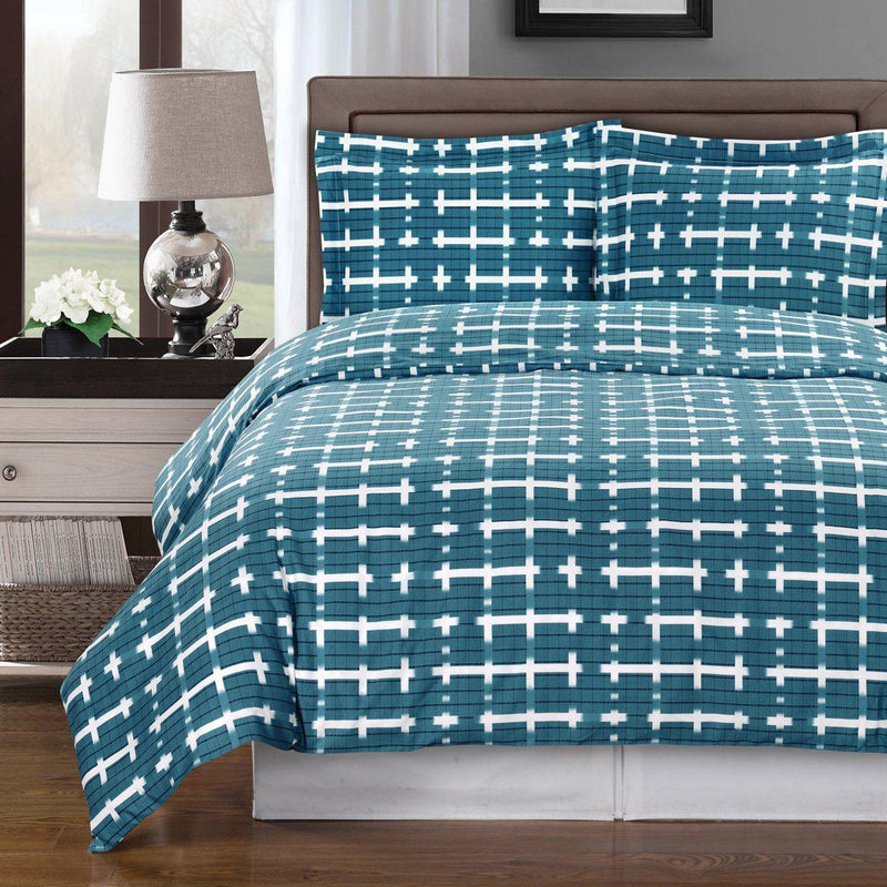 Duvet Cover Set - Norwich-Royal Tradition-Full/Queen-Lake Blue/White-Egyptian Linens
