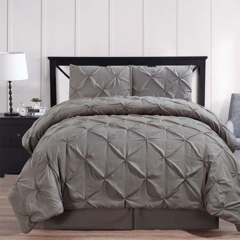Gray Oxford Double Needle Luxury Soft Pinch Pleated Comforter Set-Royal Tradition-Twin XL-Egyptian Linens