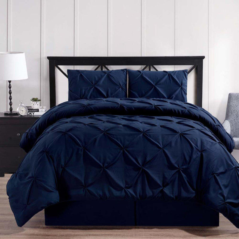 Navy Oxford Double Needle Luxury Soft Pinch Pleated Comforter Set-Royal Tradition-Twin XL-Egyptian Linens