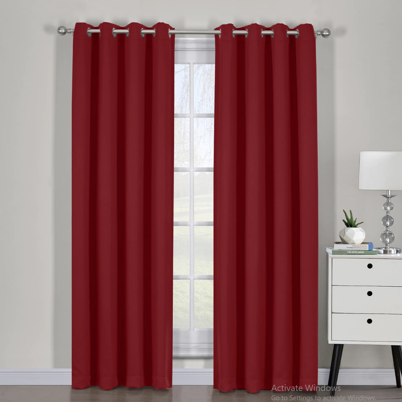 "Ava Blackout Weave Curtain Panels With Tie Backs Pair (Set Of 2)-Egyptian Linens-54"" x 63"" Pair-Pair Red-Egyptian Linens"