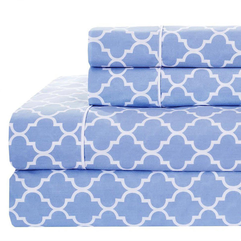 Meridian Percale Sheet Set-Royal Tradition-Twin XL-Periwinkle & White-Egyptian Linens
