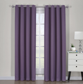 "Ava Blackout Weave Curtain Panels With Tie Backs Pair (Set Of 2)-Egyptian Linens-54"" x 63"" Pair-Purple-Egyptian Linens"