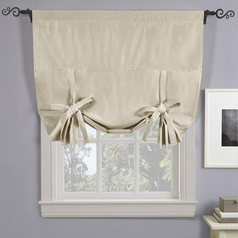 "Soho Triple-Pass Thermal Insulated Blackout Curtain Rod Pocket - Tie Up Shade for Small Window ( 42"" W X 63"" L)-Royal Tradition-Beige-Egyptian Linens"