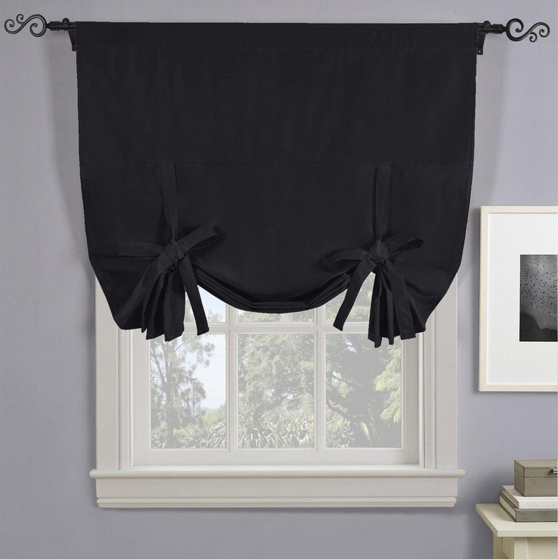 "Soho Triple-Pass Thermal Insulated Blackout Curtain Rod Pocket - Tie Up Shade for Small Window ( 42"" W X 63"" L)-Royal Tradition-Black-Egyptian Linens"