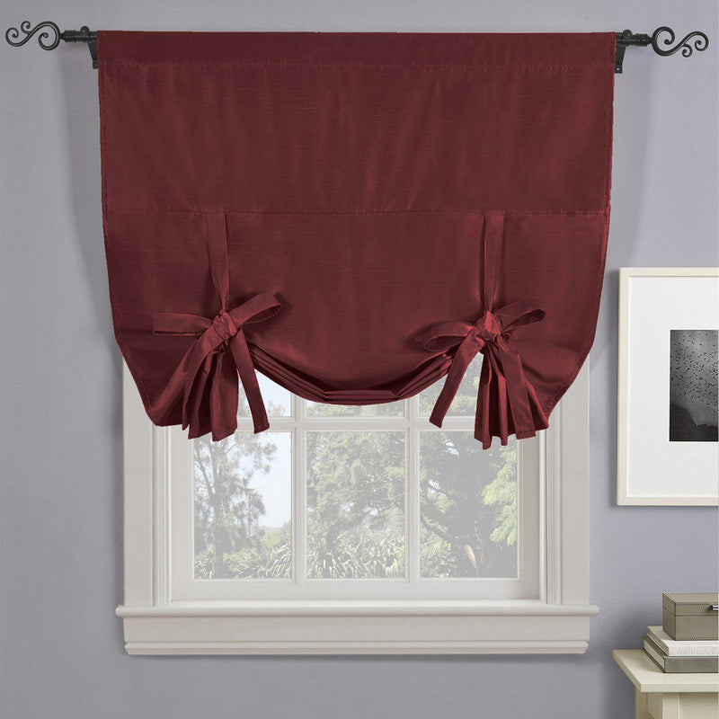 "Soho Triple-Pass Thermal Insulated Blackout Curtain Rod Pocket - Tie Up Shade for Small Window ( 42"" W X 63"" L)-Royal Tradition-Burgundy-Egyptian Linens"