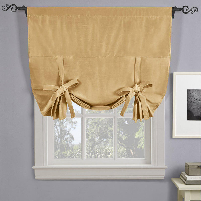 "Soho Triple-Pass Thermal Insulated Blackout Curtain Rod Pocket - Tie Up Shade for Small Window ( 42"" W X 63"" L)-Royal Tradition-Gold-Egyptian Linens"
