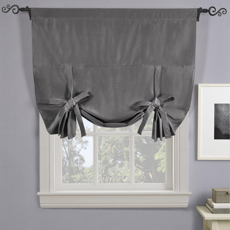 "Soho Triple-Pass Thermal Insulated Blackout Curtain Rod Pocket - Tie Up Shade for Small Window ( 42"" W X 63"" L)-Royal Tradition-Gray-Egyptian Linens"