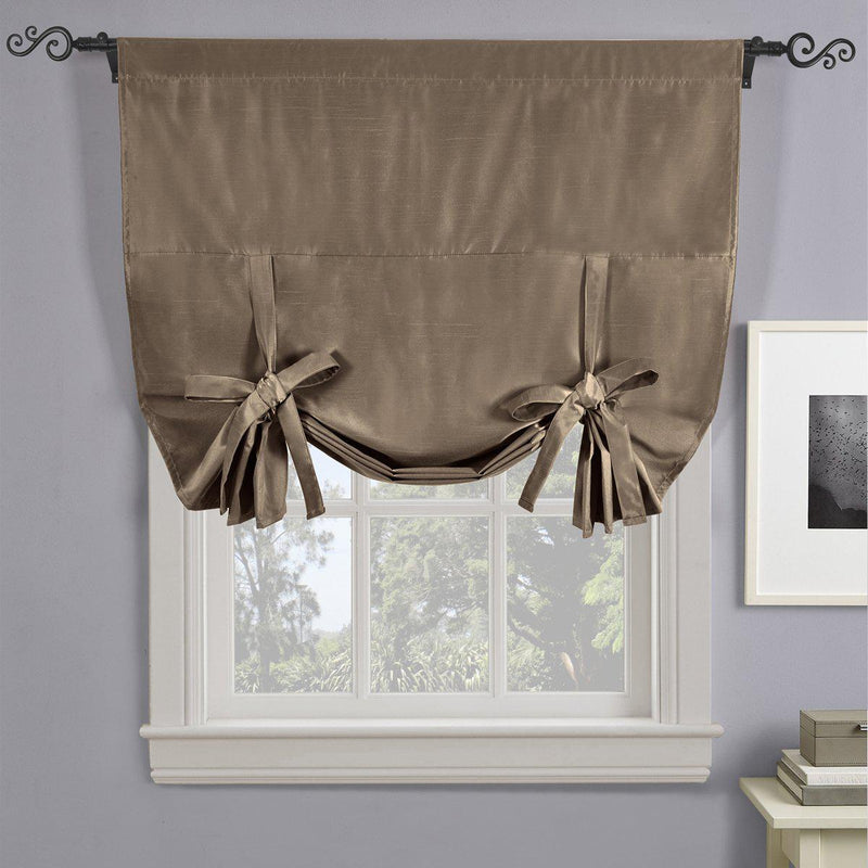 "Soho Triple-Pass Thermal Insulated Blackout Curtain Rod Pocket - Tie Up Shade for Small Window ( 42"" W X 63"" L)-Royal Tradition-Mocha-Egyptian Linens"