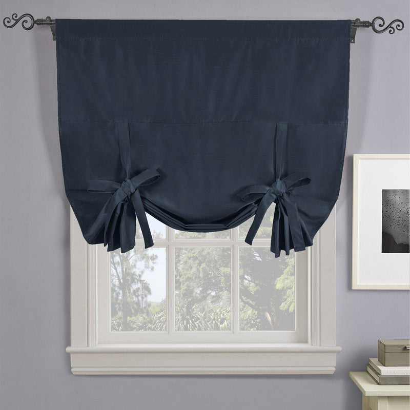 "Soho Triple-Pass Thermal Insulated Blackout Curtain Rod Pocket - Tie Up Shade for Small Window ( 42"" W X 63"" L)-Royal Tradition-Navy-Egyptian Linens"