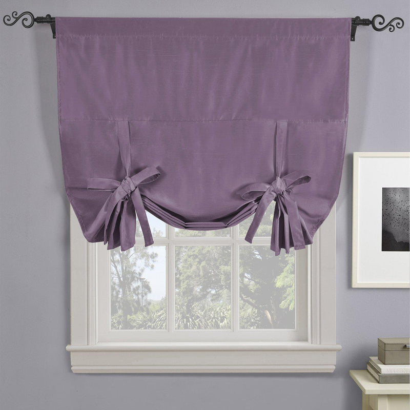 "Soho Triple-Pass Thermal Insulated Blackout Curtain Rod Pocket - Tie Up Shade for Small Window ( 42"" W X 63"" L)-Royal Tradition-Purple-Egyptian Linens"