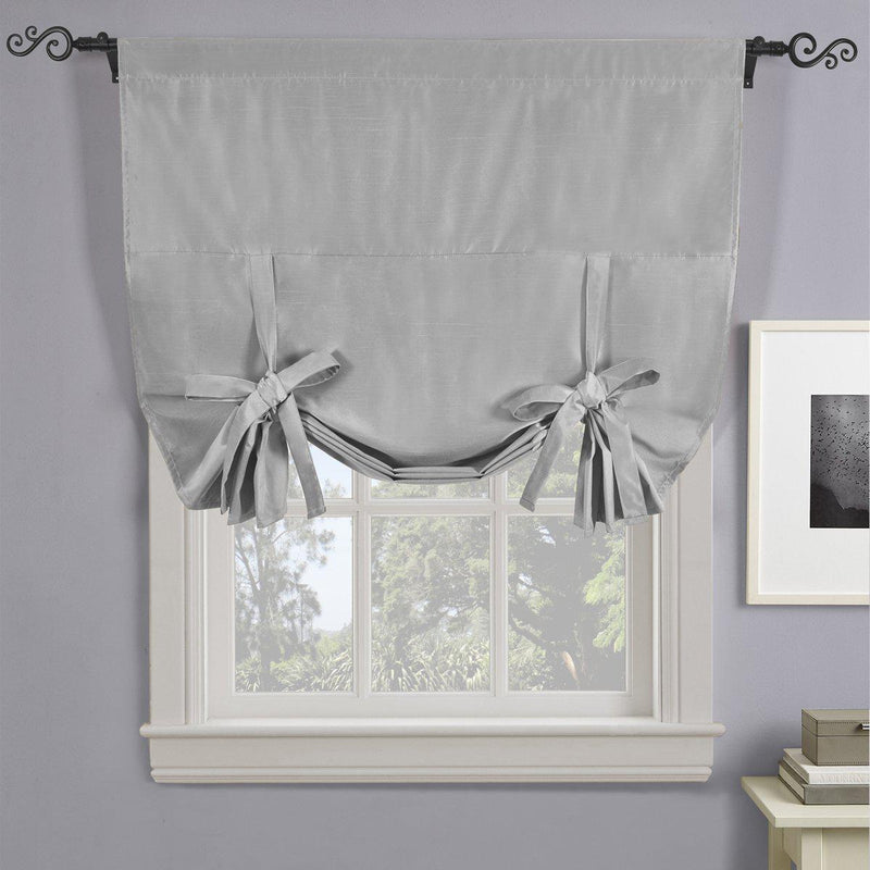 "Soho Triple-Pass Thermal Insulated Blackout Curtain Rod Pocket - Tie Up Shade for Small Window ( 42"" W X 63"" L)-Royal Tradition-Silver-Egyptian Linens"