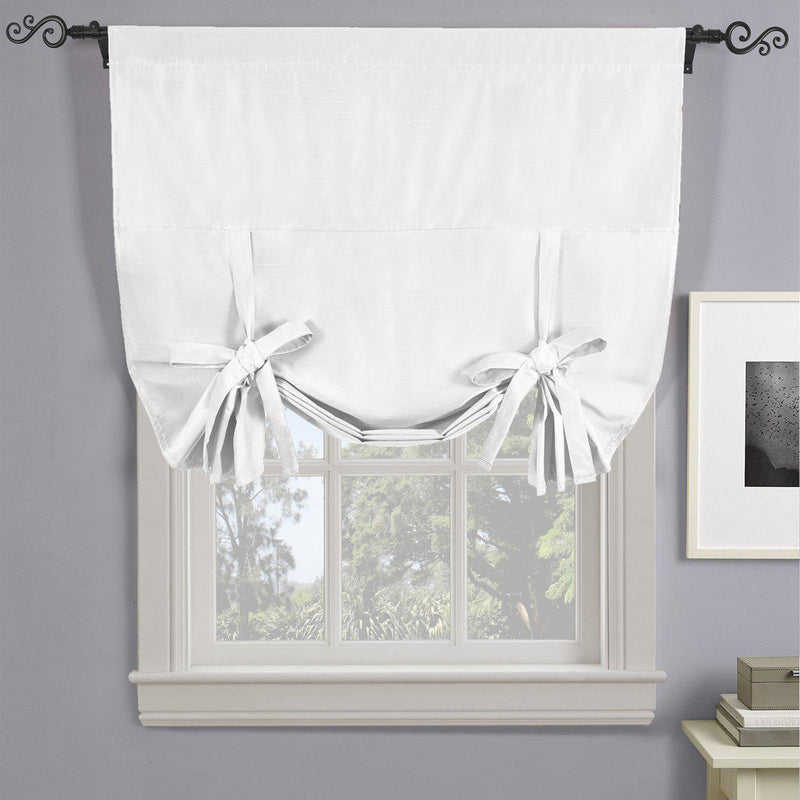 "Soho Triple-Pass Thermal Insulated Blackout Curtain Rod Pocket - Tie Up Shade for Small Window ( 42"" W X 63"" L)-Royal Tradition-White-Egyptian Linens"
