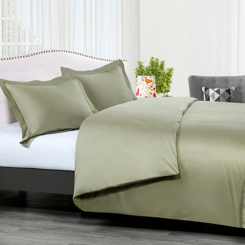Duvet Cover Set Solid 300 Thread count-Royal Tradition-Twin/Twin XL-Sage-Egyptian Linens