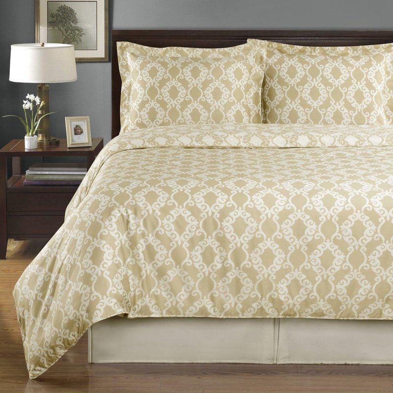 Duvet Cover Set - Sierra-Royal Tradition-Twin/Twin XL-Beige/Ivory-Egyptian Linens