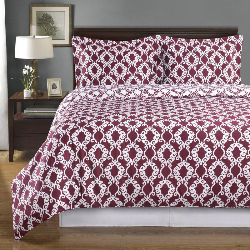Duvet Cover Set - Sierra-Royal Tradition-Twin/Twin XL-Burgundy/White-Egyptian Linens