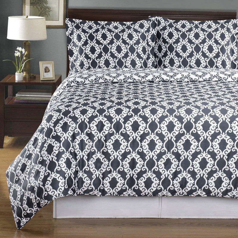 Duvet Cover Set - Sierra-Royal Tradition-Twin/Twin XL-Gray/White-Egyptian Linens