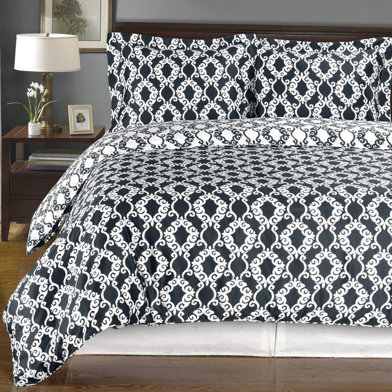 Duvet Cover Set - Sierra-Royal Tradition-Twin/Twin XL-Navy/White-Egyptian Linens