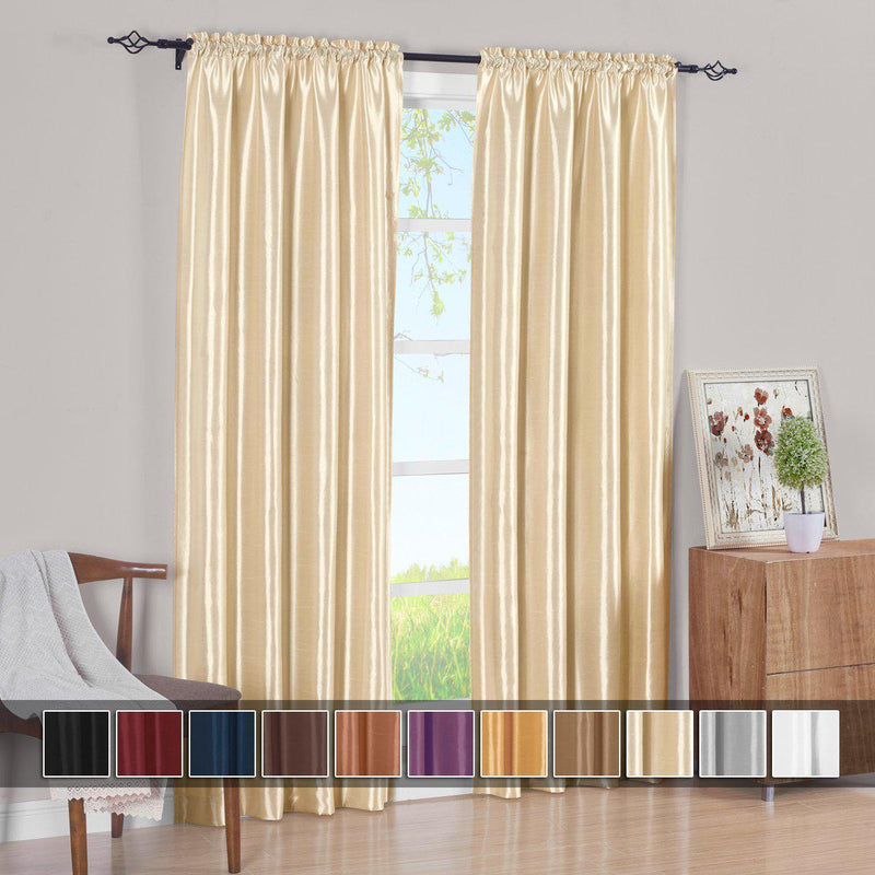Pair Curtain Panels Soho Faux Silk (Set of 2)-Royal Tradition-Egyptian Linens