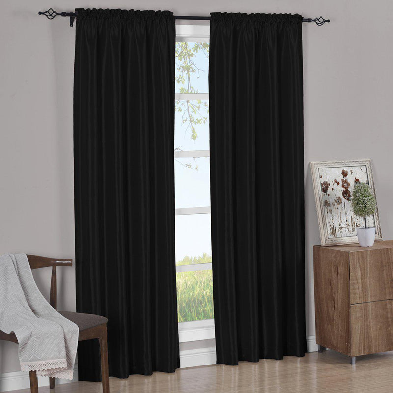 Pair Curtain Panels Soho Faux Silk (Set of 2)-Royal Tradition-63 Inch Long-Black-Egyptian Linens