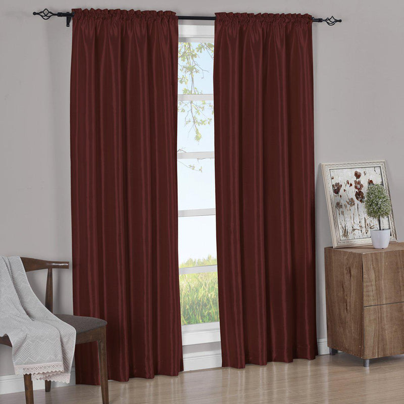 Pair Curtain Panels Soho Faux Silk (Set of 2)-Royal Tradition-63 Inch Long-Burgundy-Egyptian Linens