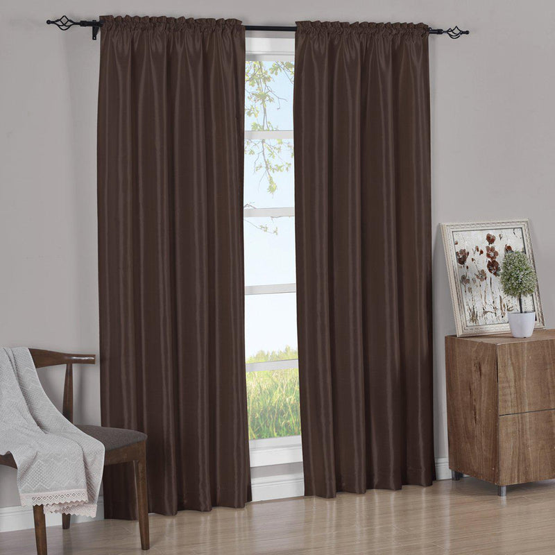Pair Curtain Panels Soho Faux Silk (Set of 2)-Royal Tradition-63 Inch Long-Chocolate-Egyptian Linens