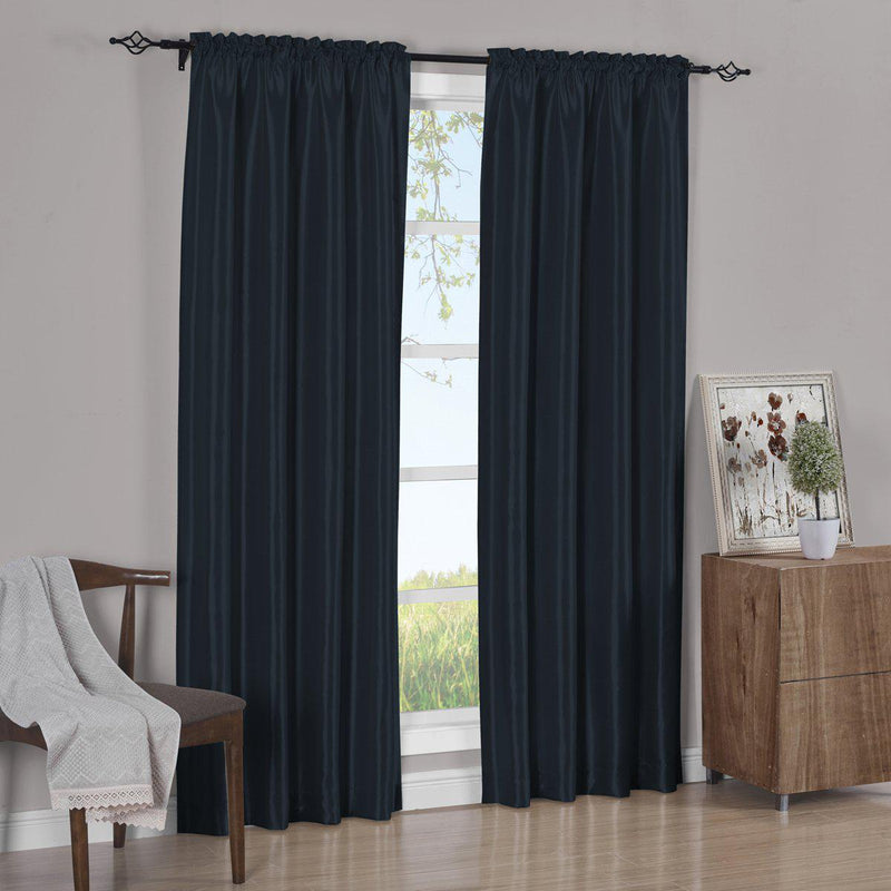 Pair Curtain Panels Soho Faux Silk (Set of 2)-Royal Tradition-63 Inch Long-Navy-Egyptian Linens