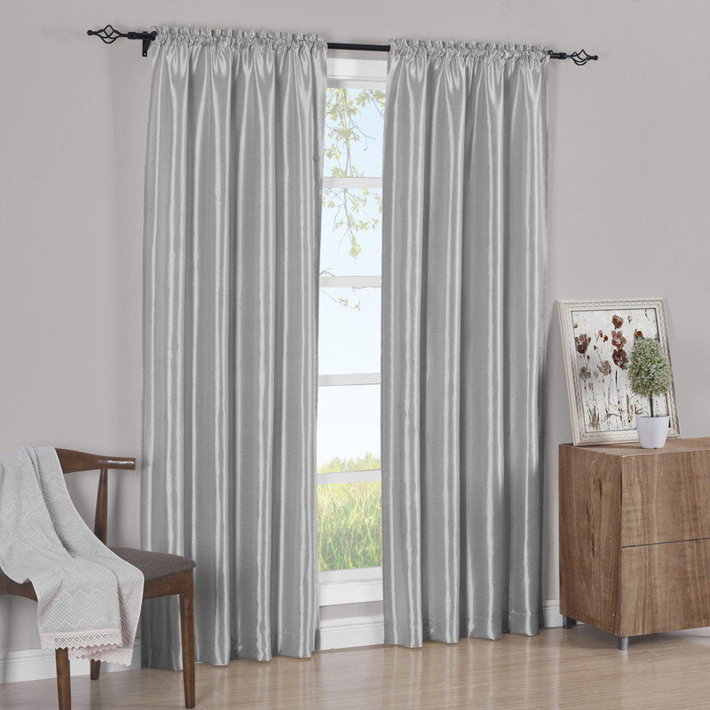 Pair Curtain Panels Soho Faux Silk (Set of 2)-Royal Tradition-63 Inch Long-Silver-Egyptian Linens